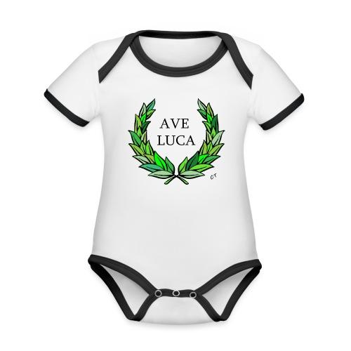 AVE LUCA nome nascita modificabile a richiesta - Body da neonato a manica corta, ecologico e in contrasto cromatico