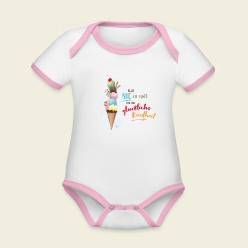 Eis - glückliche Kindheit - Baby Bio-Kurzarm-Kontrastbody