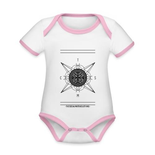 DE PIONEER - Baby contrasterend bio-rompertje met korte mouwen