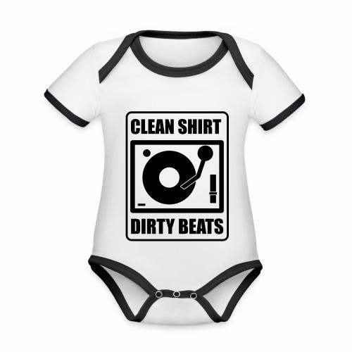 Clean Shirt Dirty Beats - Baby contrasterend bio-rompertje met korte mouwen