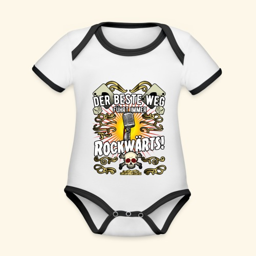 Rock Music Shirt ROCKWÄRTS - Baby Bio-Kurzarm-Kontrastbody