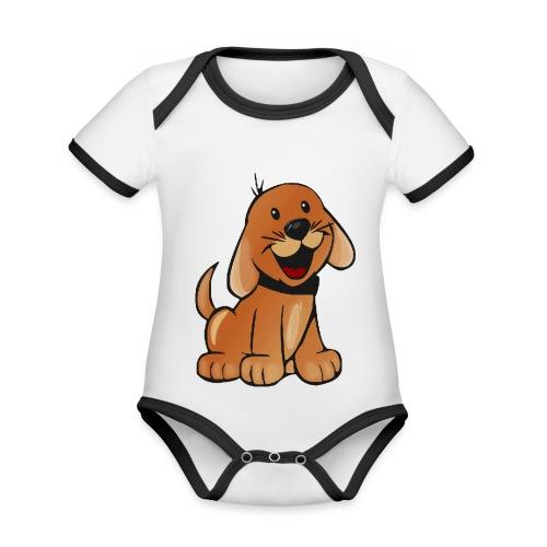 cartoon dog - Body da neonato a manica corta, ecologico e in contrasto cromatico