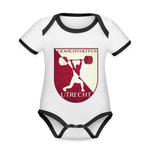 Oldschool Logo - Baby contrasterend bio-rompertje met korte mouwen