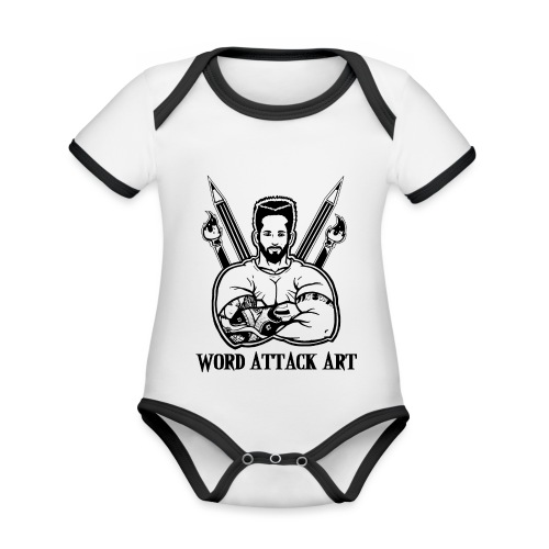 Word Attack Art - Baby Bio-Kurzarm-Kontrastbody