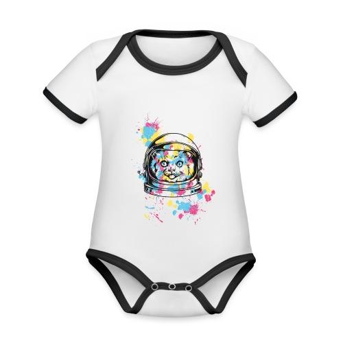 Space Cat - Baby Bio-Kurzarm-Kontrastbody
