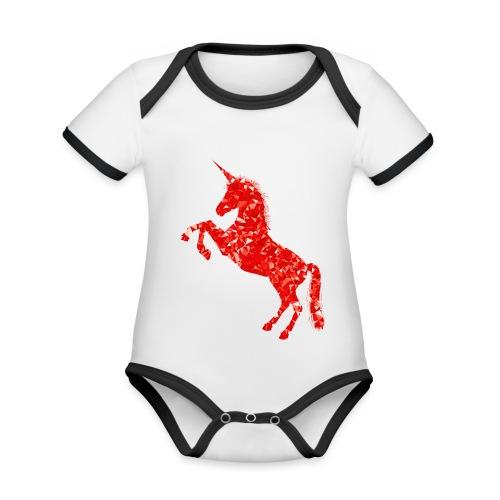 unicorn red - Ekologiczne body niemowlęce z krótkim rękawem i kontrastowymi lamówkami
