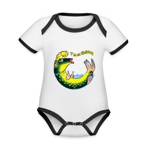 10-39 LADY FISH HOLIDAY - Haukileidi lomailee - Vauvan kontrastivärinen, lyhythihainen luomu-body