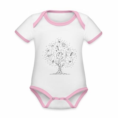 Interpretacja woodspace - Ekologiczne body niemowlęce z krótkim rękawem i kontrastowymi lamówkami