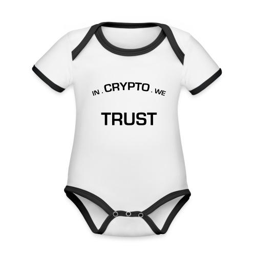 In Crypto we trust - Baby contrasterend bio-rompertje met korte mouwen