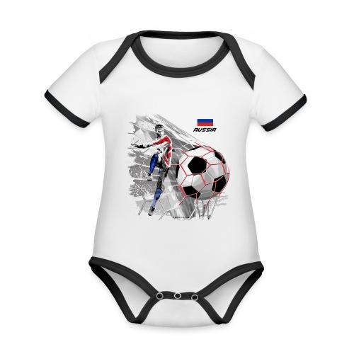 GP22F-04 RUSSIAN FOOTBALL TEXTILES AND GIFTS - Vauvan kontrastivärinen, lyhythihainen luomu-body