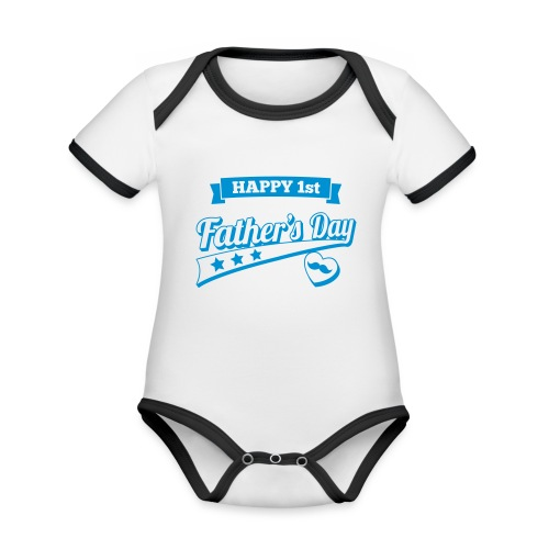 Happy 1st Father's Day - Organic Baby Contrasting Bodysuit