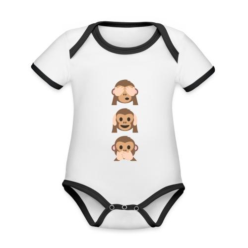 Edición limitada de Monkey Emoji - Body contraste para bebé de tejido orgánico