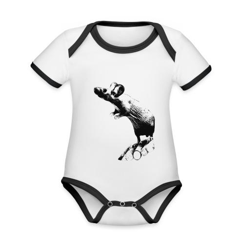 Seisova nakuhiiri - mustavalko - Vauvan kontrastivärinen, lyhythihainen luomu-body