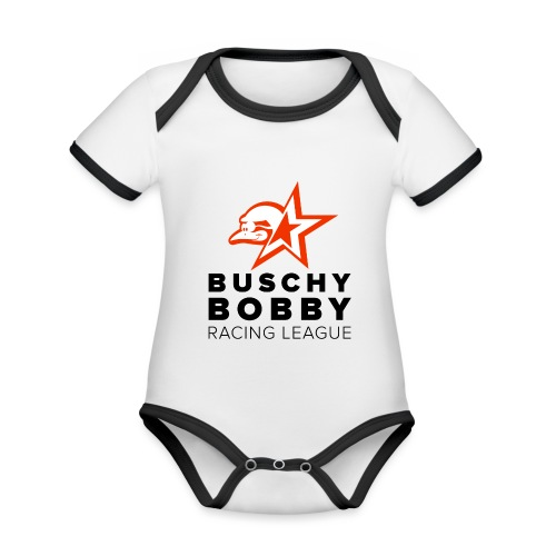 Buschy Bobby Racing League on white - Organic Baby Contrasting Bodysuit