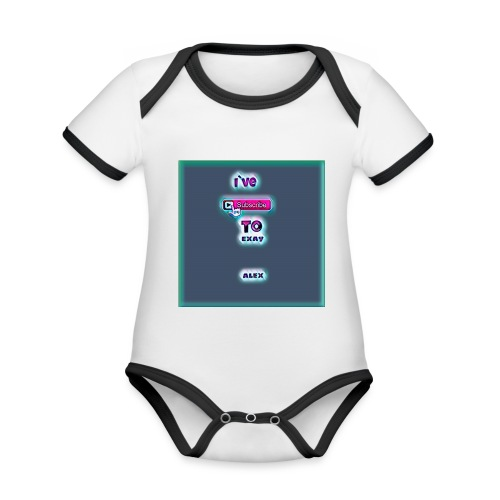 baby tshirt with ive subed to my channel - Organic Baby Contrasting Bodysuit