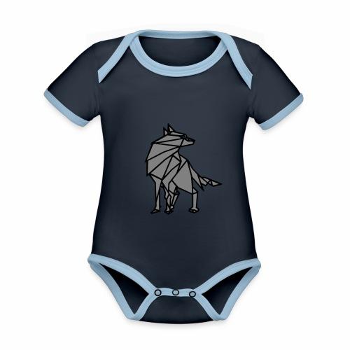 loup geometrique - Body Bébé bio contrasté manches courtes