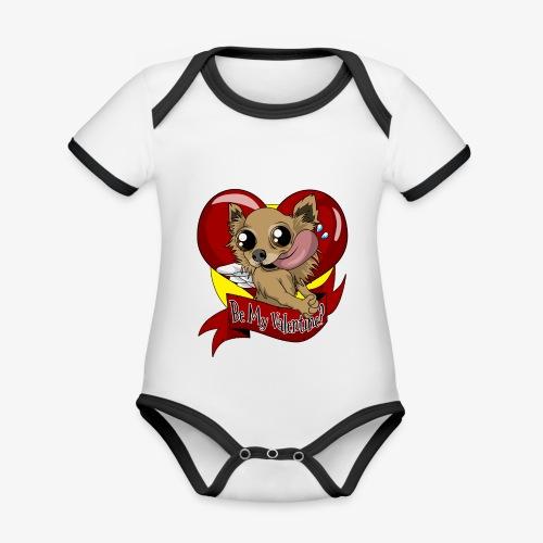 Engla Be my valentine? - Ekologisk kontrastfärgad kortärmad babybody