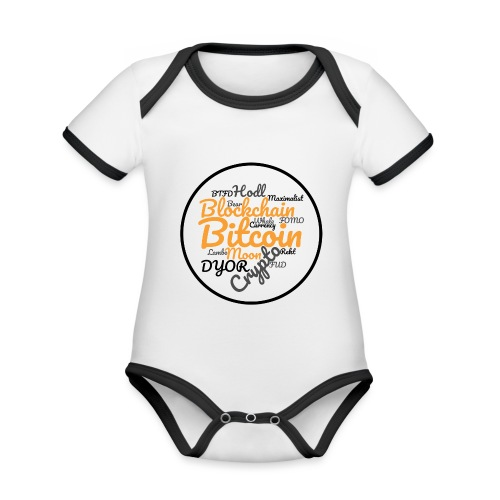 Bitcoin Tag Cloud - Organic Baby Contrasting Bodysuit