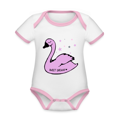 swan sweet dreams - Baby Bio-Kurzarm-Kontrastbody
