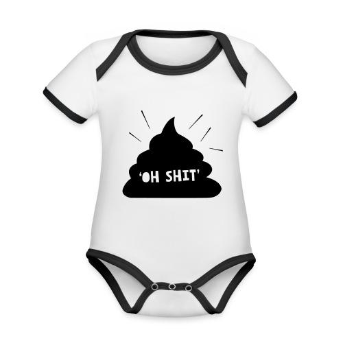 Oh Shit - Baby contrasterend bio-rompertje met korte mouwen