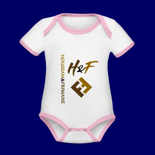 h&F luxury style - Body da neonato a manica corta, ecologico e in contrasto cromatico