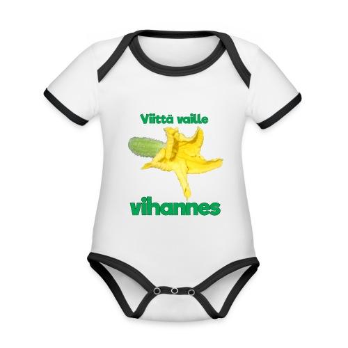 Viittä vaille vihannes, avomaankurkku - Vauvan kontrastivärinen, lyhythihainen luomu-body