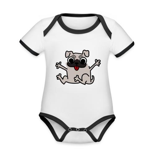 crazy pug - Baby Bio-Kurzarm-Kontrastbody