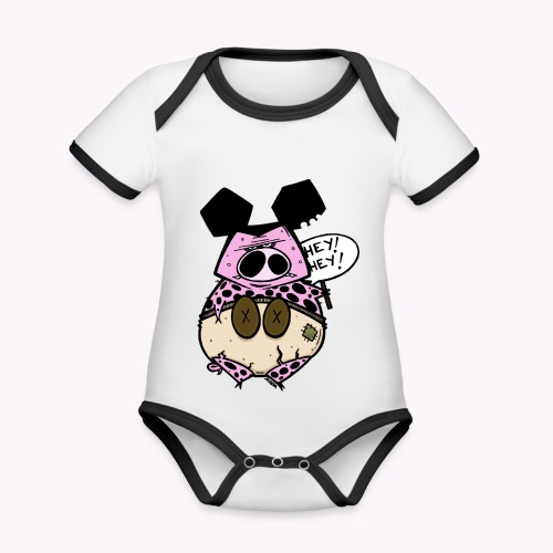 ugly pig col - Body da neonato a manica corta, ecologico e in contrasto cromatico