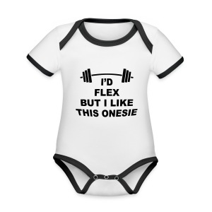 I'd Flex But I Like This Onesie - Organic Baby Contrasting Bodysuit
