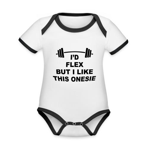 I'd Flex But I Like This Onesie - Organic Baby Contrasting Bodysuit