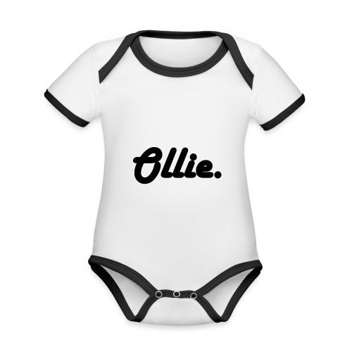 Ollie Harlow Solid - Baby contrasterend bio-rompertje met korte mouwen