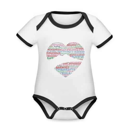 I Luoghi di Napoli di CuordiNapoli - Body da neonato a manica corta, ecologico e in contrasto cromatico