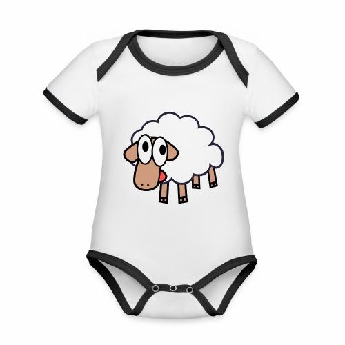 Sheep Cartoon - Baby contrasterend bio-rompertje met korte mouwen
