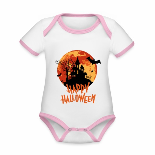 Bloodmoon Haunted House Halloween Design - Baby Bio-Kurzarm-Kontrastbody