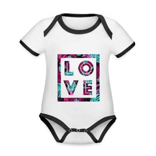 LOVE - Ekologisk kontrastfärgad kortärmad babybody