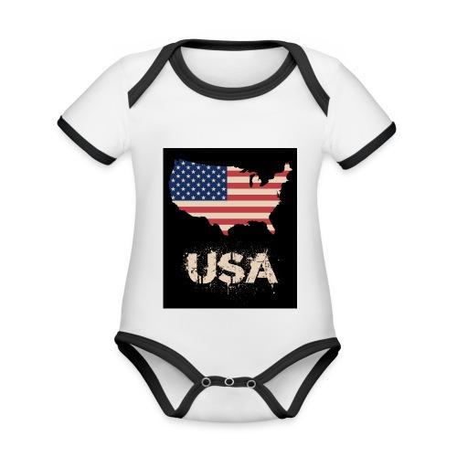 USA FLAG 4th of July With Flag - Ekologisk kontrastfärgad kortärmad babybody