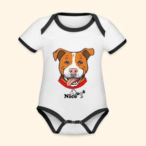 pitbull2 - Body da neonato a manica corta, ecologico e in contrasto cromatico