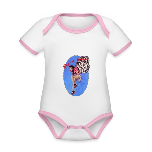 Vintage Rockabilly Butterfly Pin-up Design - Organic Baby Contrasting Bodysuit