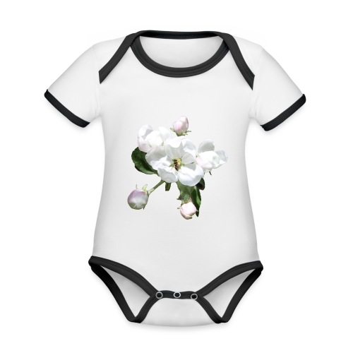 Omenankukka ja kukkakärpänen - Vauvan kontrastivärinen, lyhythihainen luomu-body