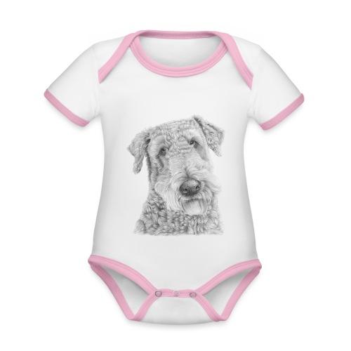 airedale terrier - Kortærmet økologisk babybody i kontrastfarver