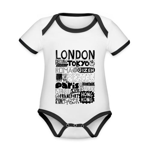 Villes du monde - Body Bébé bio contrasté manches courtes