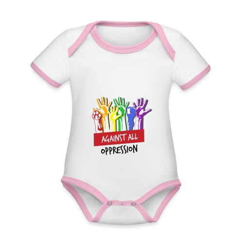 Against All Oppression - Baby contrasterend bio-rompertje met korte mouwen