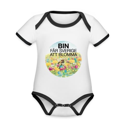 Bin får Sverige att blomma - Ekologisk kontrastfärgad kortärmad babybody