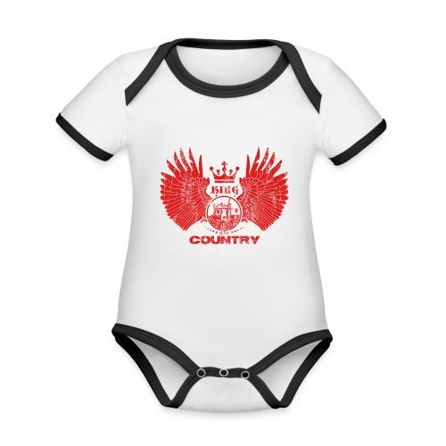 IH KING of the COUNTRY (Red design) - Baby contrasterend bio-rompertje met korte mouwen