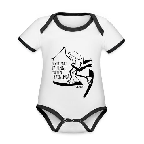 if you're not falling you're not learning - Body da neonato a manica corta, ecologico e in contrasto cromatico