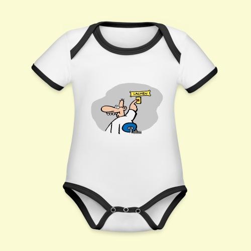 DIRKJAN Lachen - Baby contrasterend bio-rompertje met korte mouwen