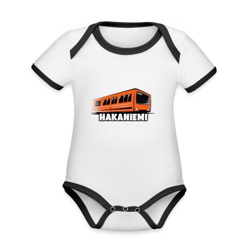 13- METRO HAKANIEMI - HELSINKI - LAHJATUOTTEET - Vauvan kontrastivärinen, lyhythihainen luomu-body
