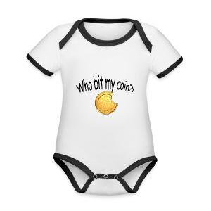 Bitcoin bite - Baby contrasterend bio-rompertje met korte mouwen