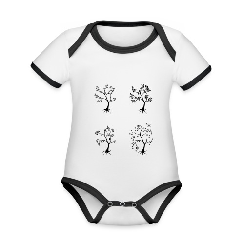 Vuodenajat - Vauvan kontrastivärinen, lyhythihainen luomu-body