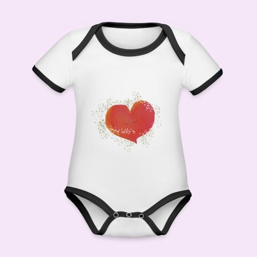 Blozend hartje kinder baby shirt - Baby contrasterend bio-rompertje met korte mouwen